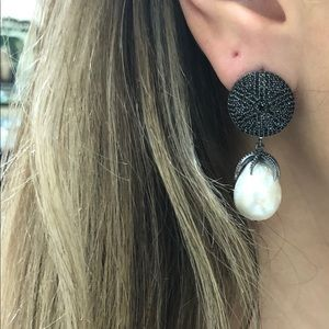 Black pave dangling pearl earring